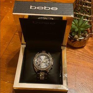 bebe black rhinestones watch